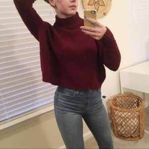 American Eagle | Cropped Mock-Neck Sweater